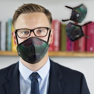 Business executive wearing the subtle South Africa flag design face mask
