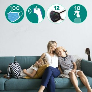 Family on couch and listing of the Family Covid-19 PPE Pack 2