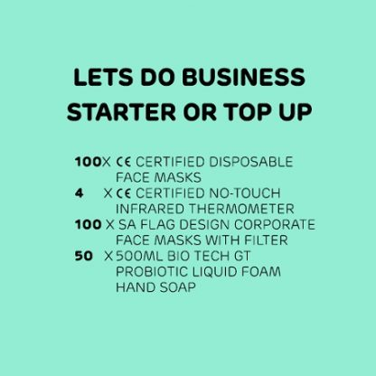Let do Business PPE Pack 4 contains 200 face masks, 4 thermometers and 50 hand sanitiser soap