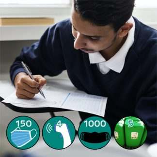 Back to School PPE Pack 3 with 150 face masks, 4 thermometers and 125L of sanitiser