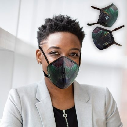 Manager wearing one of the Water Repellent South African Flag Masks