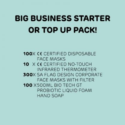 Big Business PPE Pack contains 400 face masks, 10 thermometers and 50 hand sanitisers